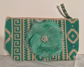 Turquoise and Beige Southwest Motif clutch-#1044