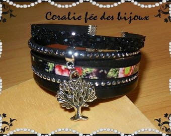 printed leather, suede, black leather and glitter, black vie.tons tree charm Cuff Bracelet