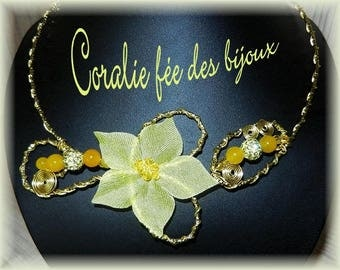 Silk flower and yellow beads necklace