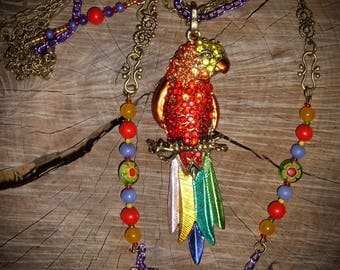 Under the Sun that sings - Parrot rhinestone necklace multicolor agate glass beads