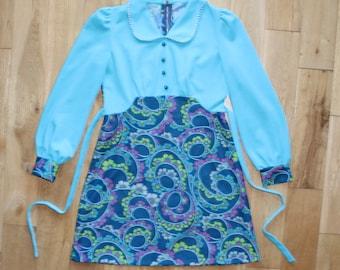 Beautiful Original Vintage 60s Blue Patterned Dress with Peter Pan Collar UK Size 14