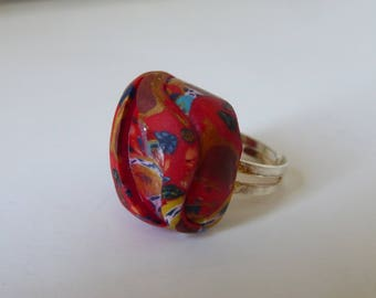 Embossed square ring adjustable joyful - red and multicolor