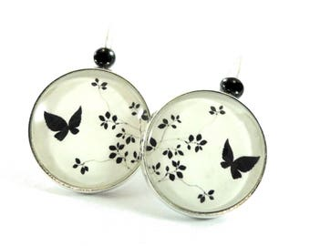 Earrings black white pattern glass cabochon ● ●