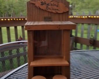 Wood birdfeeder