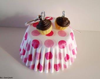 Chocolate cupcake Stud Earrings