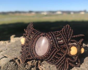 Rose quartz macrame cuff