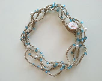Necklace/Choker/bracelet made of natural fibers and blue white/silver and glass beads necklace bracelet