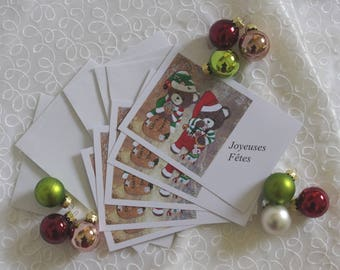 Set of 10 greeting cards Amandine and elves Christmas honey