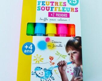 5 felt blower + 2 stencils: breath for coloring!