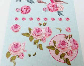 A4 paper with precut to assemble for a 3-d bird Peony flower image