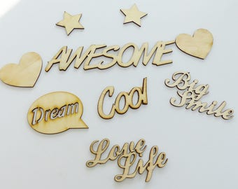 set of 9 embellishment big smile awesome star wooden cutout heart cool dream love life