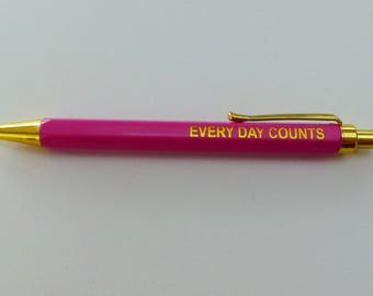 1 pencil ball writing pen ink blue every day counts pink and gold