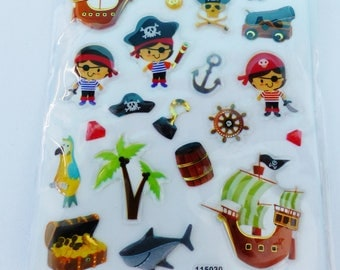 sheet of 23 stickers embossed pirate ship treasure Cannon barrel hook