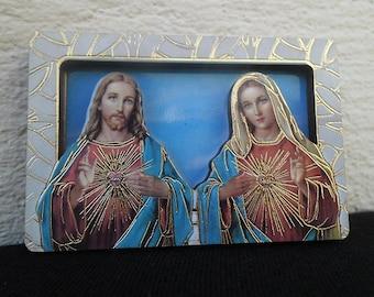 "MAGNET magnet for fridge 3D or SUPPORT A pose ""Sacred Heart Mary JESUS"" 6 cm x 4 cm"