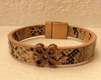 BROWN SNAKESKIN LEATHER BRACELET