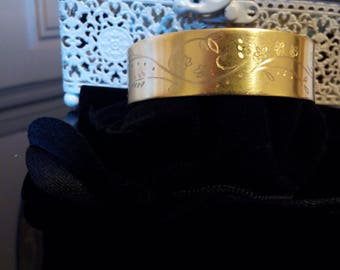Bracelet 19 mm personalized brass - engraving arabesques