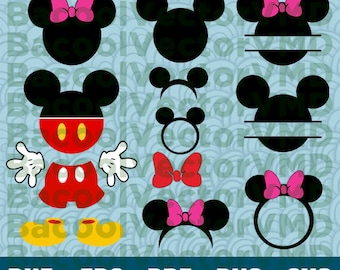 Mickey Mouse SVG Pack - Mickey Clipart - Mickey Cut Files - SVG Files For Silhouette - Files For Cricut - Cuttable design - Mickey Mouse Svg