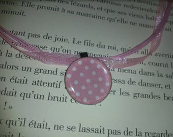 Organza necklace and her Locket pink dots