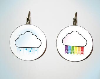Earrings - cabochon - weather - cloud & Rainbow