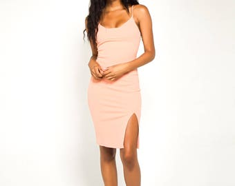 Peach Front Slit Midi Dress