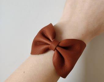 Camel leather cuff