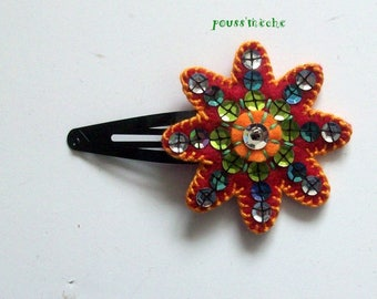 push the wick: barrette colored felt embroidered with sequins