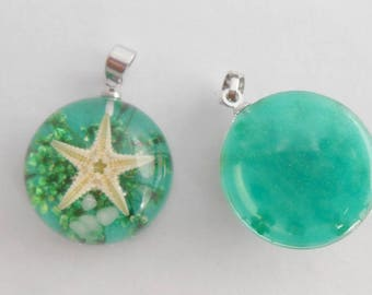 Pendants resin green Starfish brilliant 27 mm x 20 mm round