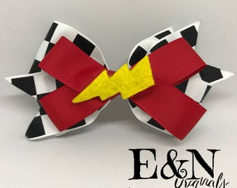 Cars inspired hair bow - mcqueen inspired hair bow - Racing hair bow - lightning hair bow - racecar hair bow - racing bow - Lightning bow