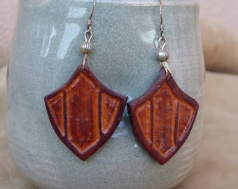 "Earring ""tan"" leather and Brown ""Blazon"""