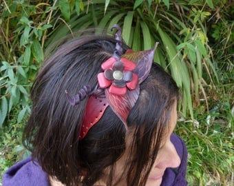 """Fairy leather band""""leaf""""reddish purple"""