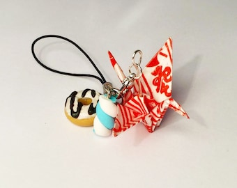 Accessory - Keychain - mobile Origami and polymer clay jewelry
