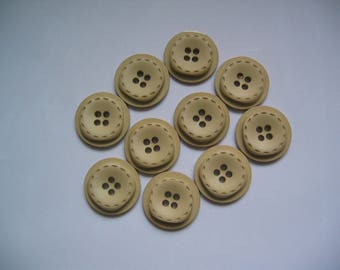 Beige set of 10 round 4 hole buttons