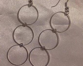 Earrings silver dangle metal rings