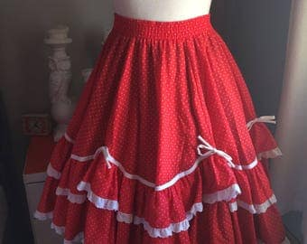 Red Polka-Dot Square Dance Skirt with Bows