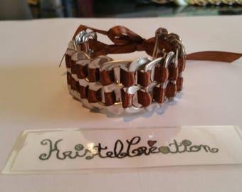 Bobbin Mod2 and Satin Brown Ribbon bottle cap bracelet