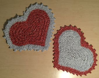 Red and Silver Hot Pads/Potholders-