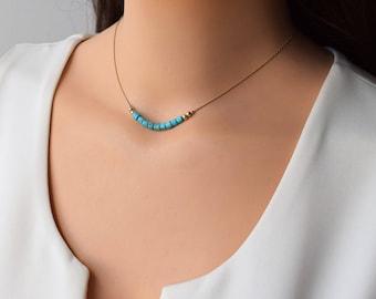 Turquoise Gold Necklace,Gold Turquoise Necklace,Beaded Turquoise Necklace,Turquoise Bead Necklace,Turquoise Jewelry,14K GoldFilled Necklace