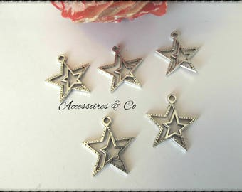 Double set of 6 star charms