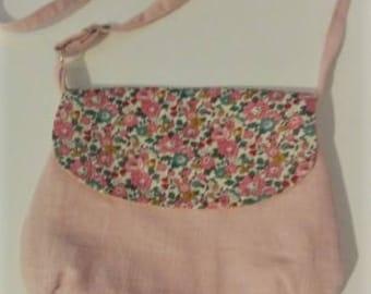 Shoulder bag adjustable linen and liberty