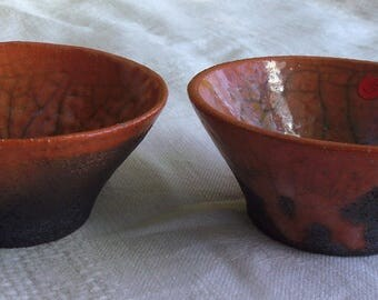 Lot 2 cups orange raku ceramic, raku ceramic cups