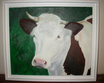 price reduced-table cow bestiary oil painting