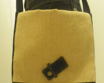Burlap reinvented denim shoulder bag