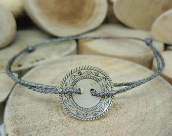 Dark carved mother of Pearl button bracelet