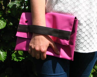 Hand bag pink and chocolate