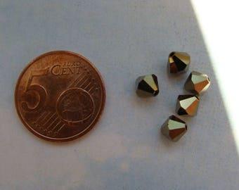 Lot 5 bicones 6mm crystal metallic light gold Swarovski Crystal