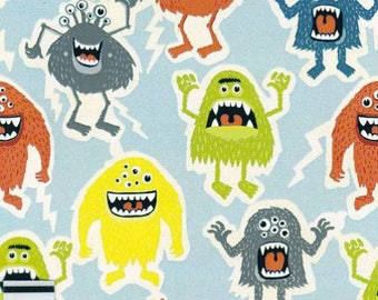 Cotton fabric small multicolored monsters by 10 cm