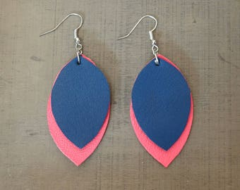 Leaves earrings pink and blue leather
