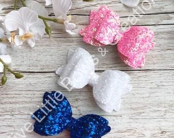 glitter hair bows, hair bows, glitter bows, hair accessories, pink, blue, white