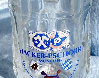 Hacker-Pschorr BEER GLASS STEIN From Munich, 1970's