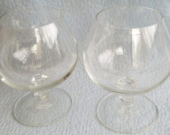 Real Crystal Brandy Snifter Goblets, Pair.